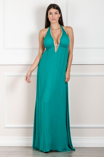 PLUNGE V NECK MAXI DRESS WITH OPEN BACK