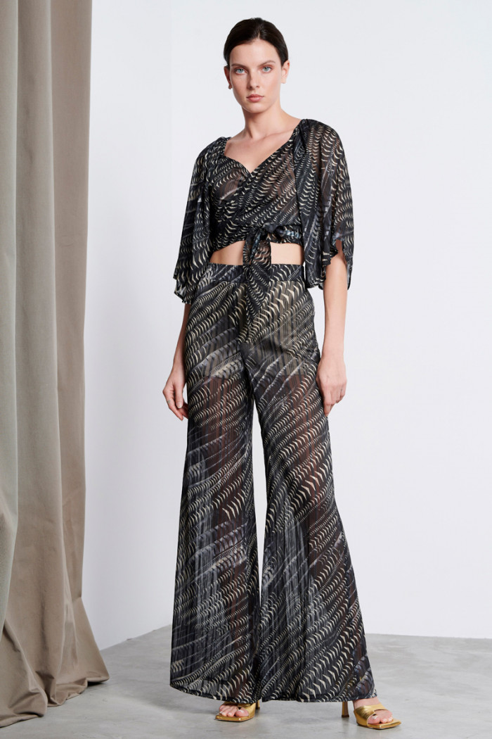 PRINTED SEMI SHEER WIDE LEG TROUSERS