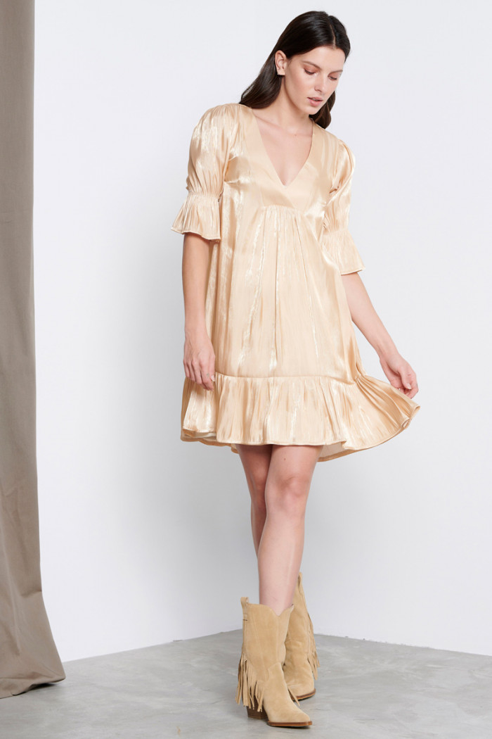 GOLDEN BEIGE METALLIC DRESS