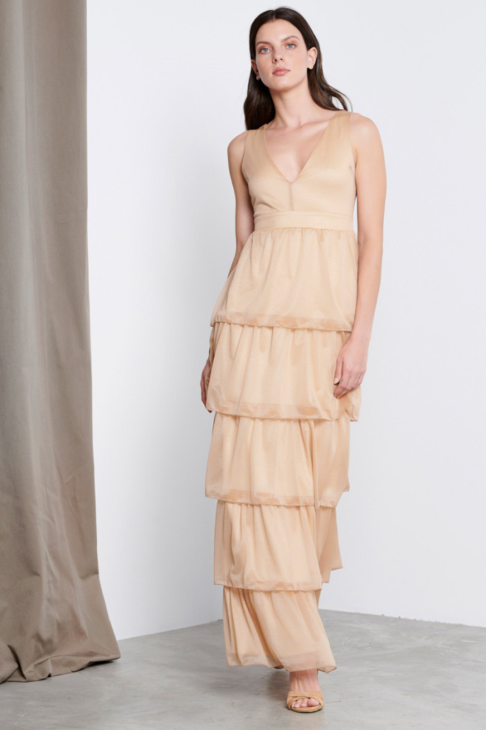 LONG LUREX RUFFLE DRESS