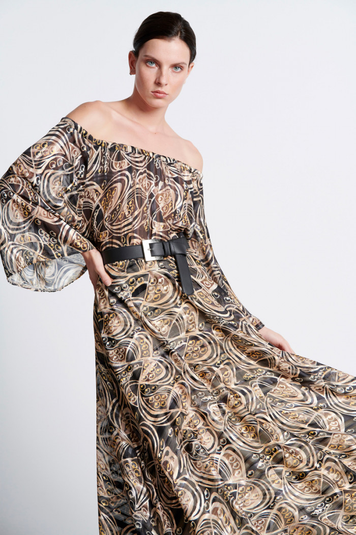 MAXI OFF SHOULDER PRINTED DRESS