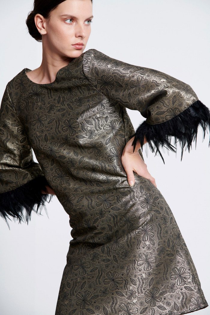 BROCADE DRESS WITH FEATHERS SLEEVES