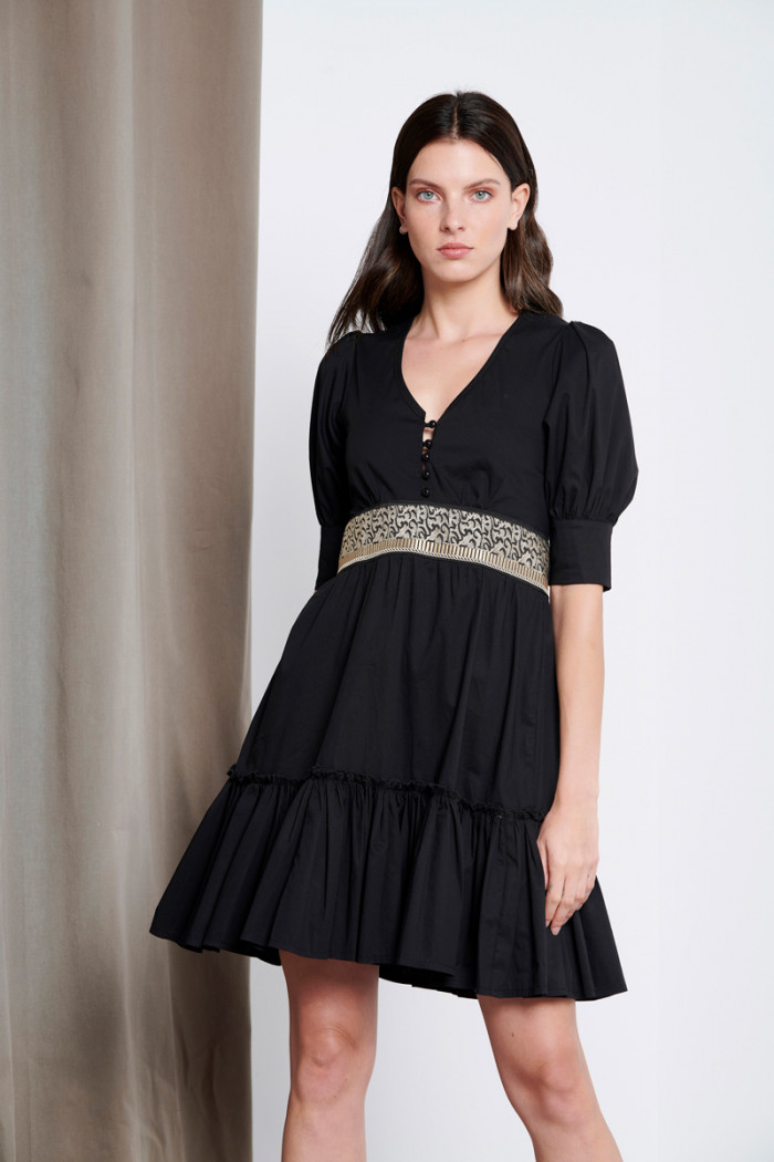 COTTON-POPLIN DRESS WITH EMBROIDERY