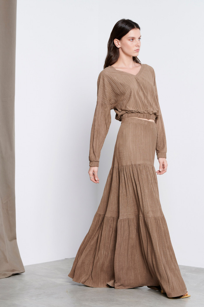 BOHO PLEATED ALCANTARA  SKIRT