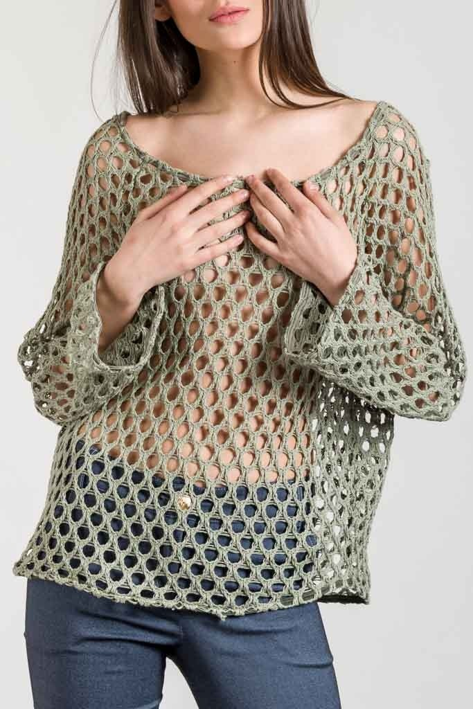 BLOUSE WITH NET DETAIL
