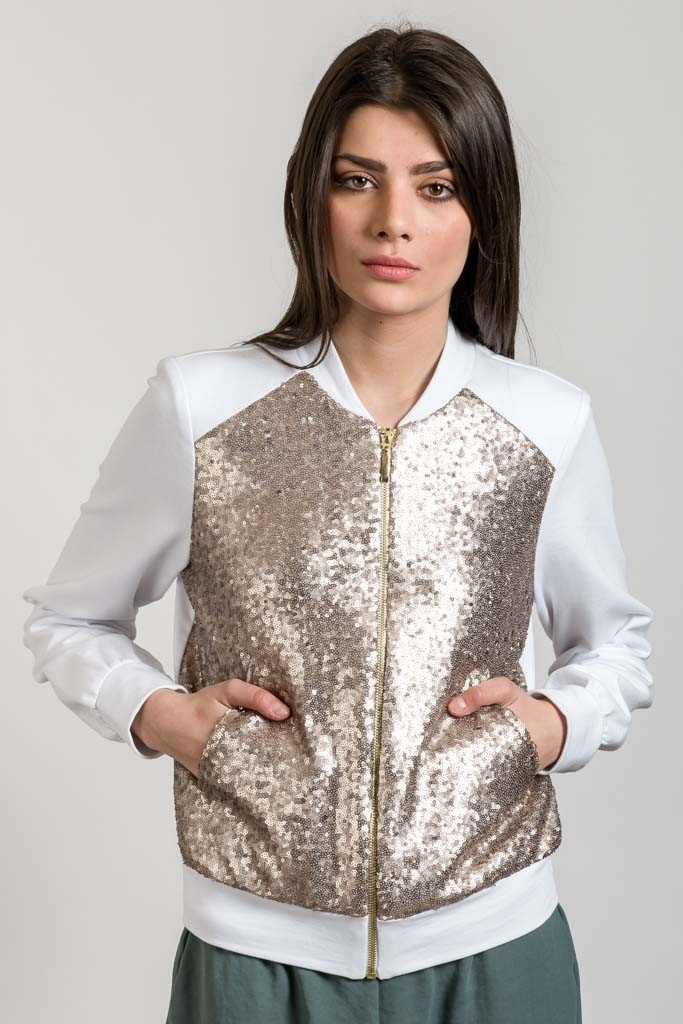 BOMBER JACKET WITH SEQUIN DETAIL