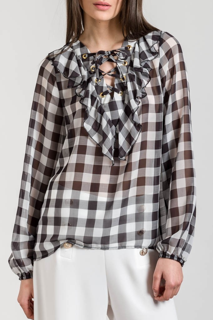 CHIFFON CHECKED TOP