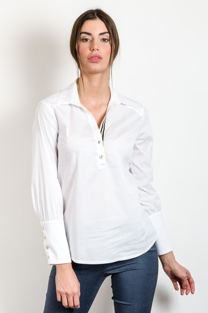MONOCHROME SHIRT WITH GATHERED SLEEVE