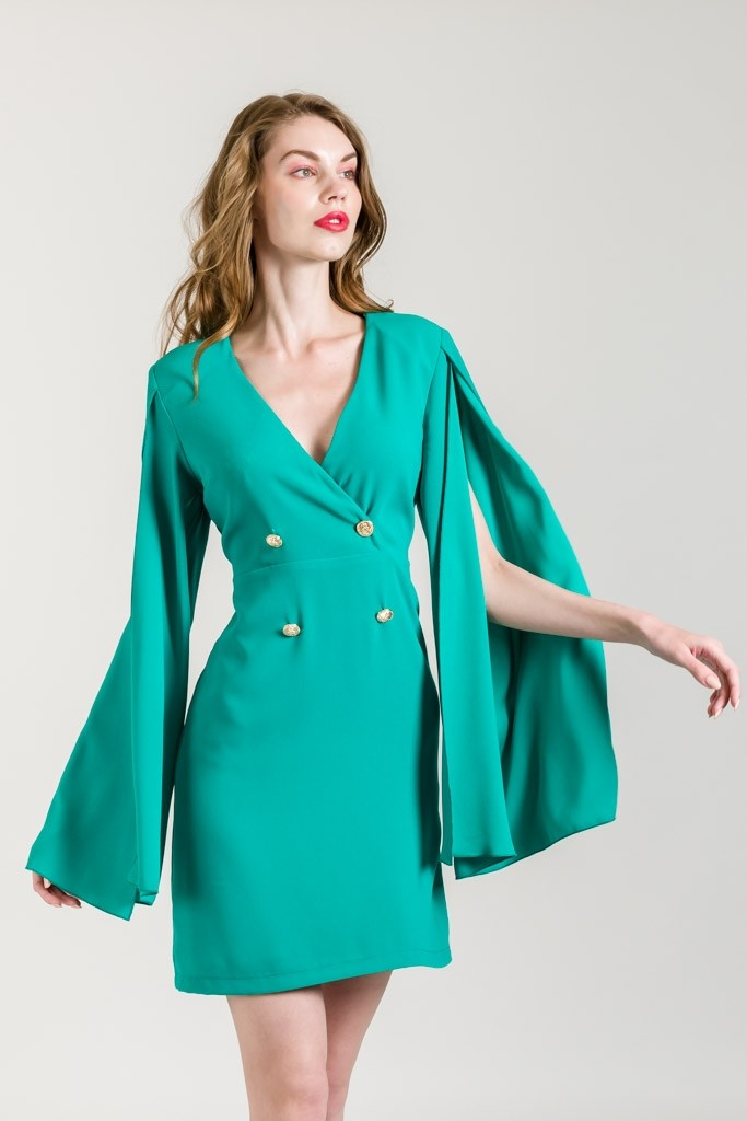 DRESS WITH LONG CAPE SLEEVES