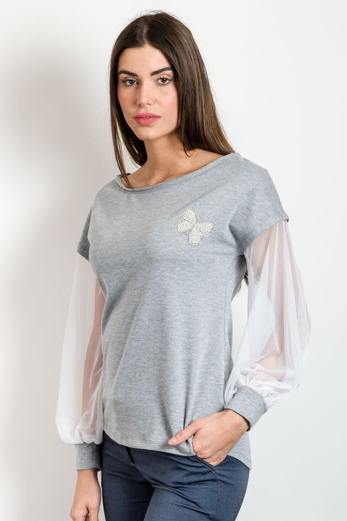 EMBROIDERY SWEATSHIRT WITH MESH DETAIL