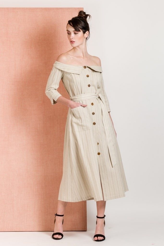 LINEN SAFARI DRESS WITH COLD SHOULDER