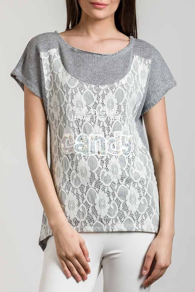 LUREX BLOUSE WITH LACE DETAIL