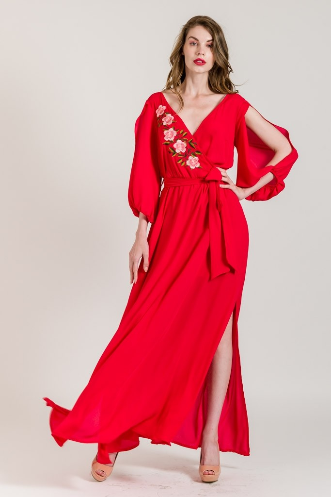 MAXI DRESS WITH CUT SLEEVES
