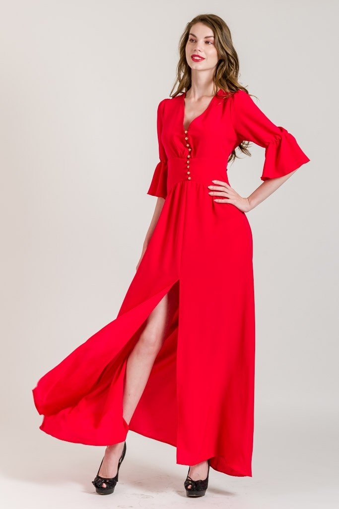 MAXI DRESS WITH ROMANTIC SLEEVES