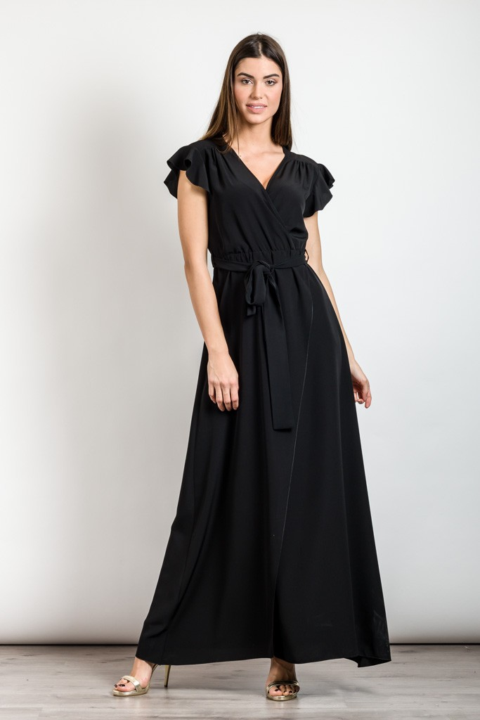 MONOCHROME MAXI DRESS WITH RUFFLE SLEEVES