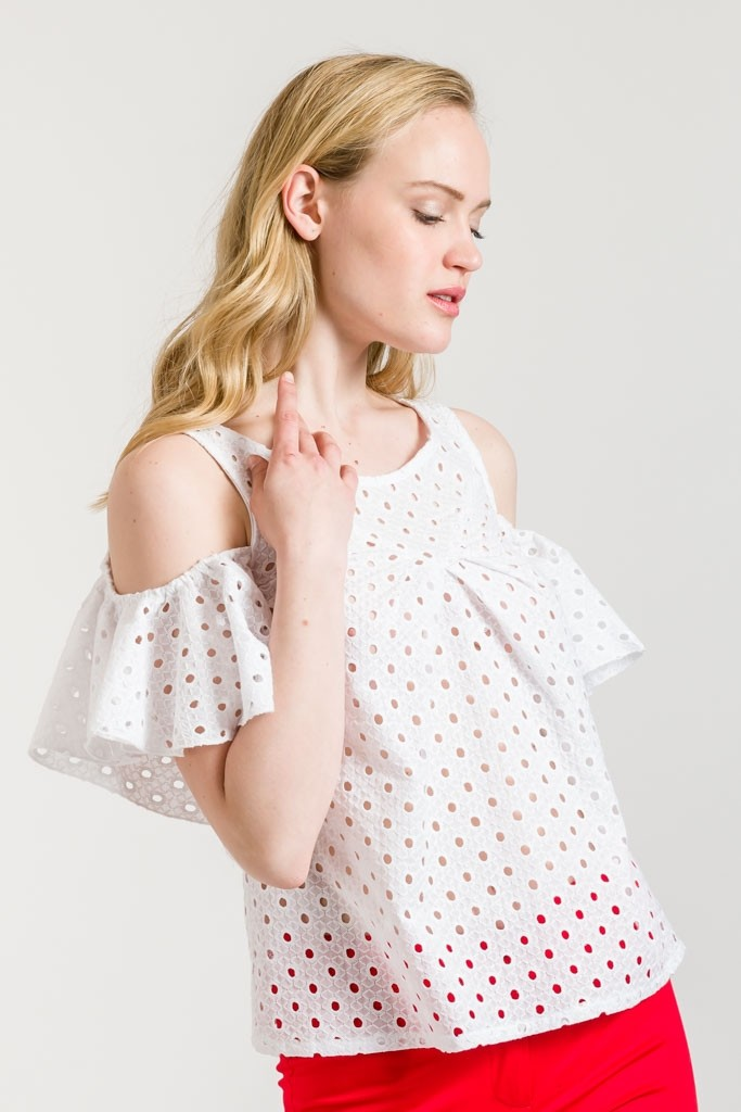 WHITE BARE SHOULDER BRODERIE ANGLAISE TOP