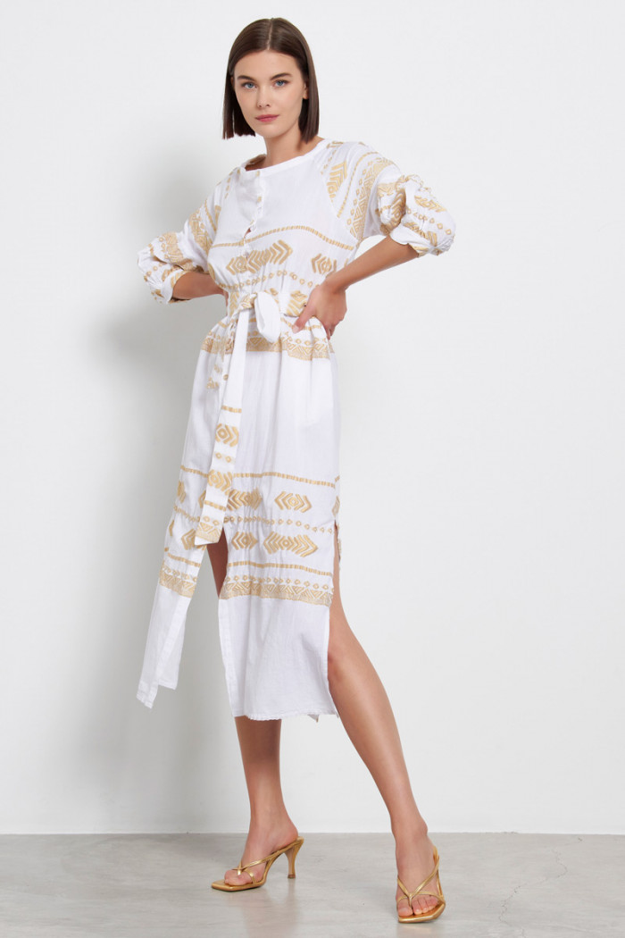 BOHO SHIRT DRESS WITH GOLDEN EMBROIDERY