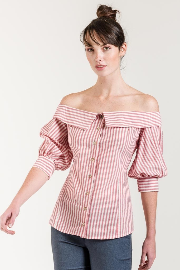 STRIPED BLOUSE WITH COLD SHOULDER