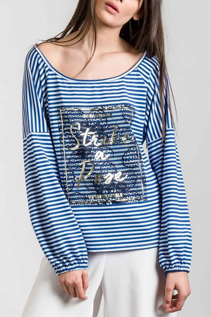 STRIPED BLOUSE WITH PRINT DETAIL