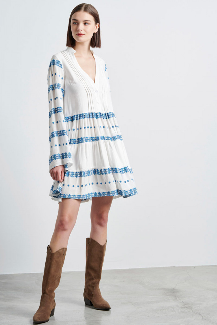 WHITE BOHO DRESS WITH EMBROIDERY