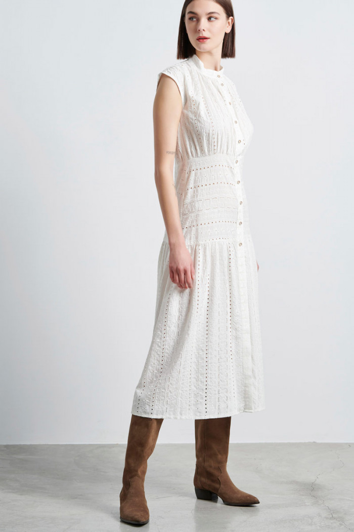 EMBROIDERY BUTTON UP DRESS