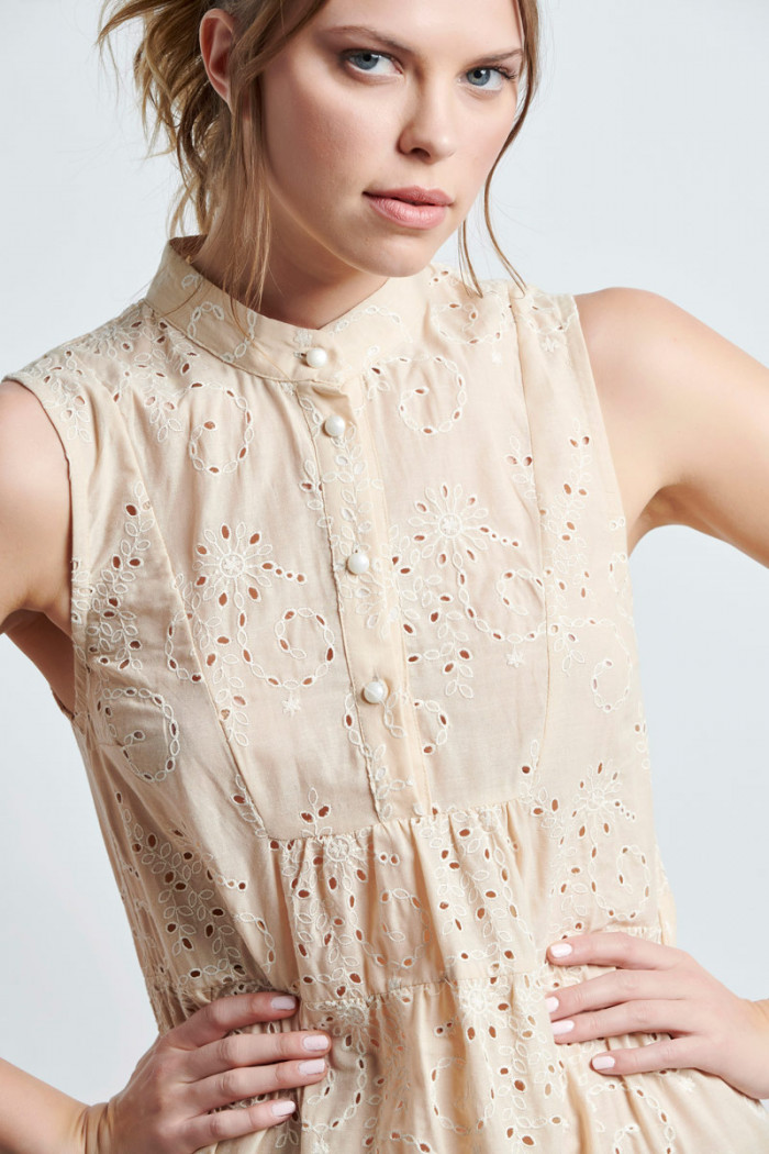 LONG EMBROIDERED COTTON DRESS