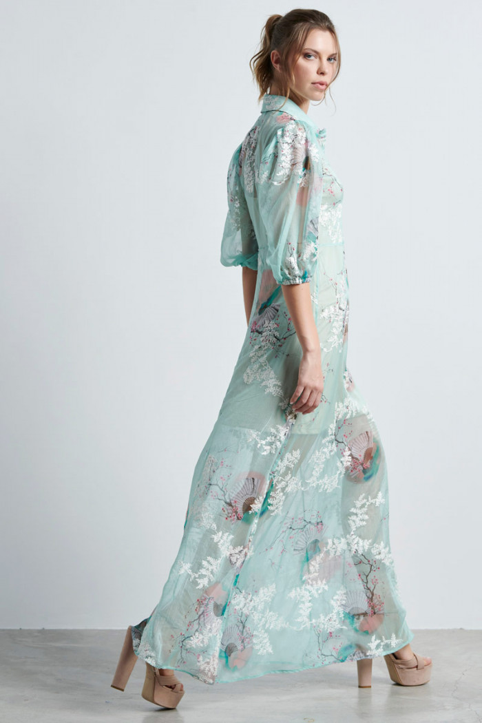 GORGETTE JAPANESE PRINT MAXI DRESS
