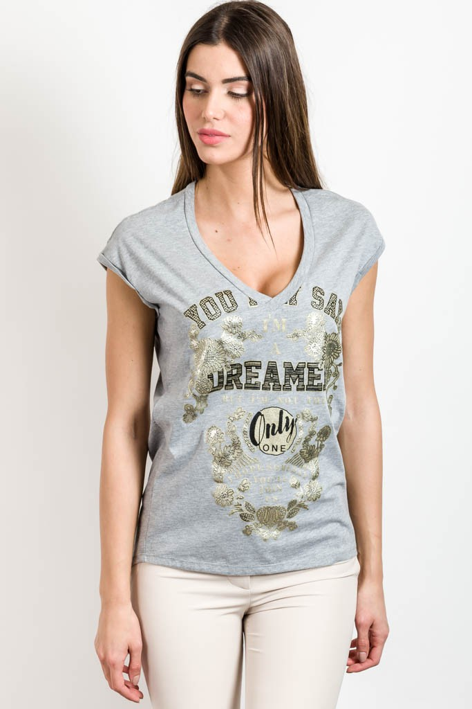 T-SHIRT WITH GOLD PRINT