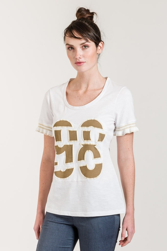 T-SHIRT WITH PRINT AND RUFFLE