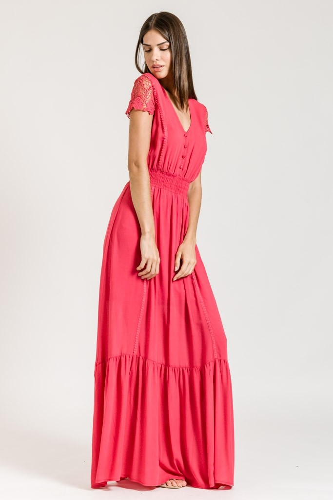 VISCOSE MAXI DRESS WITH LACE