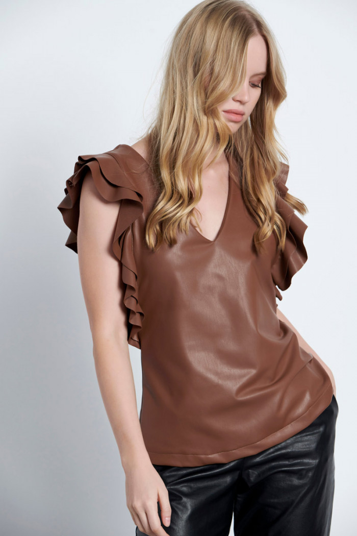 ECO LEATHER RUFFLE TOP
