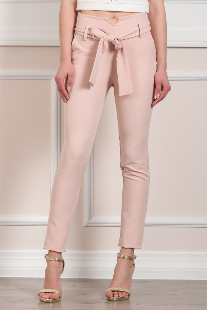 SELF-TIE WAIST TAILORED TROUSERS