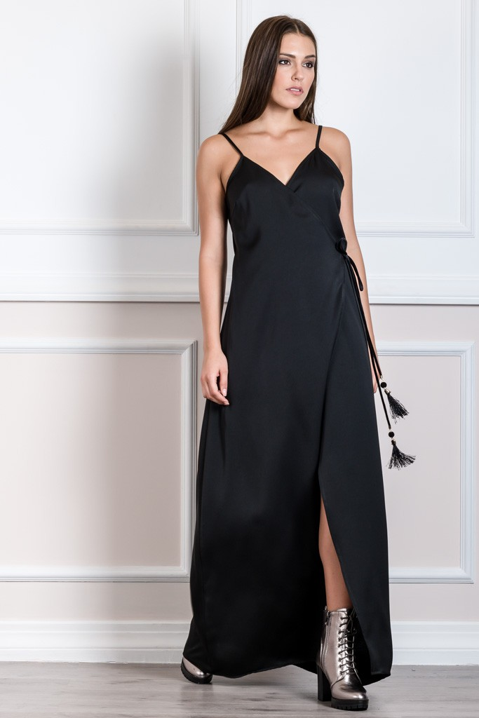 SPAGHETTI STRAP LONG DRESS WITH WRAP SLIT IN FRONT