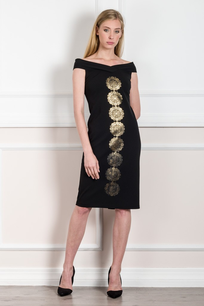 DRESS WITH GOLD FOIL PRINT
