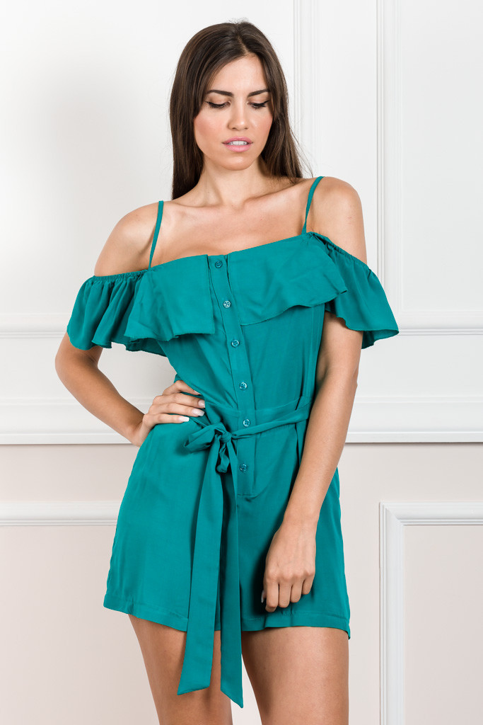 EVE KAY PLAYSUIT WITH RUFFLE DETAILING