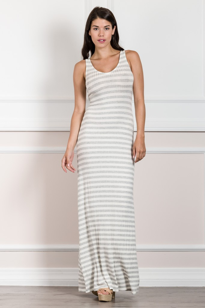 ELASTIC MAXI STRIPED DRESS WITH OPEN BACK