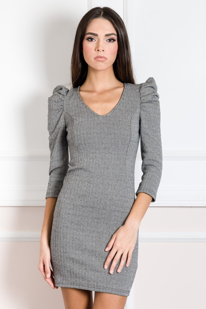 HERRINGBONE DRESS WITH VOLUMED SHOULDERS