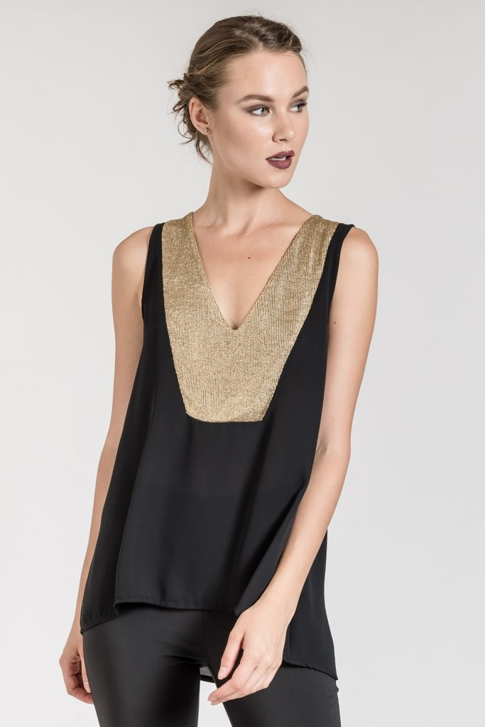 HIGH LOW V NECK BLOUSE WITH GOLDEN NET