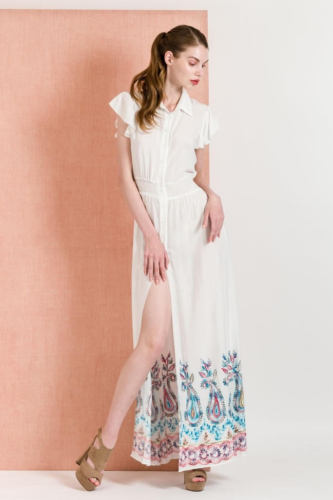 a990966c9d5 Long Shirt Dress With Paisley Embroidery - Dresses - Clothing
