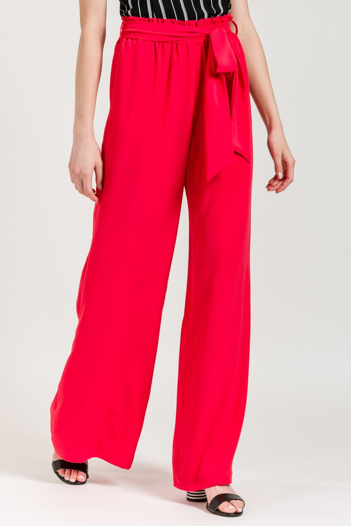 WIDE TROUSERS WITH FABRIC BELT-coral-S