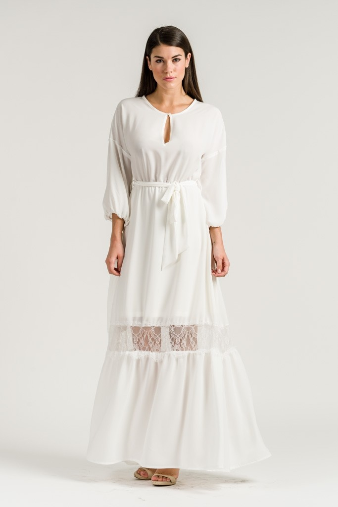 LONG DRESS WITH LACE PANEL