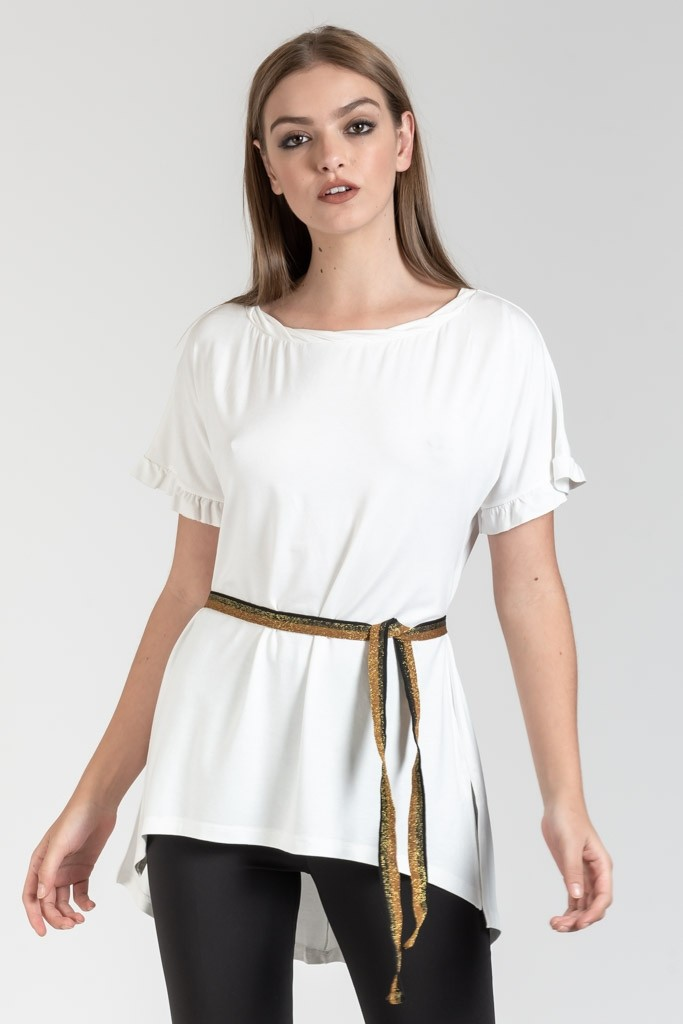 HIGH LOW BLOUSE WITH BELT