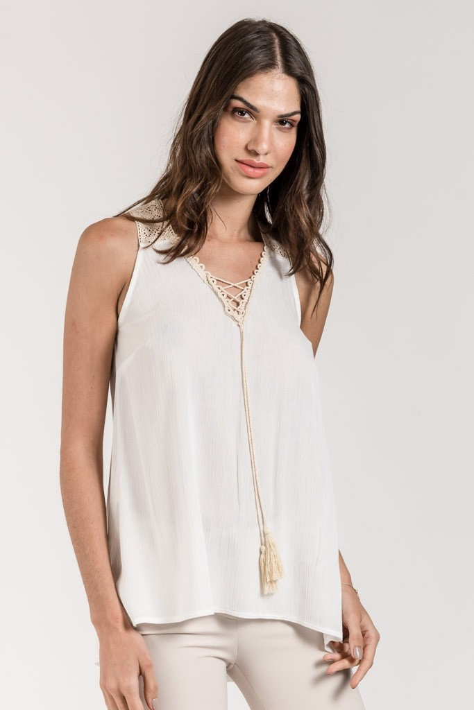 HIGH LOW STRAP TOP WITH LACE