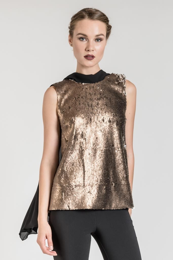 LONG SEQUIN TOP WITH CAPE SLEEVES