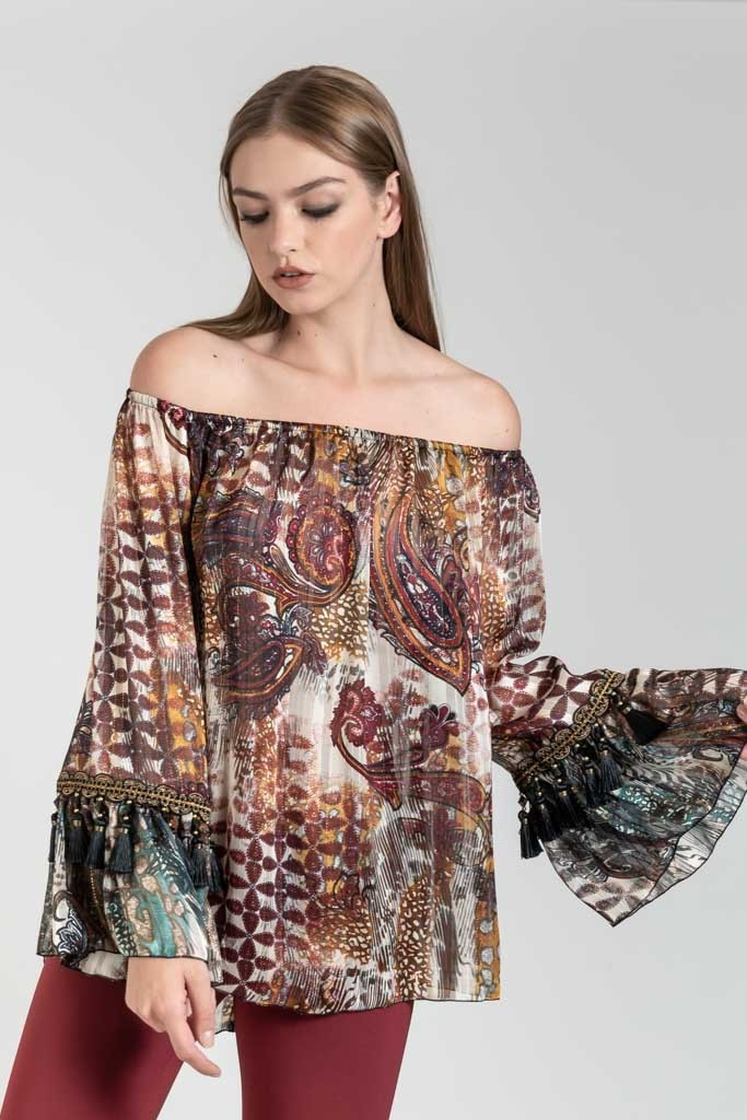 LOOSE PRINTED BLOUSE WITH BELL SLEEVES