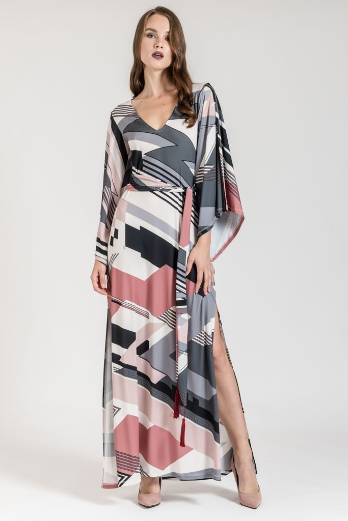 MAXI DRESS WITH LONG CAPE SLEEVES