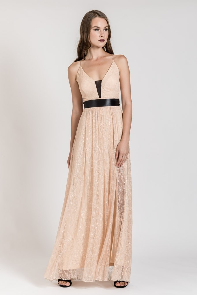 MAXI LACE DRESS WITH BELT
