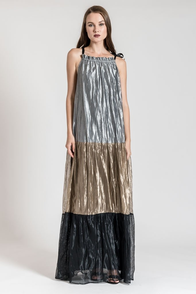 METALLIC MAXI LOOSE DRESS