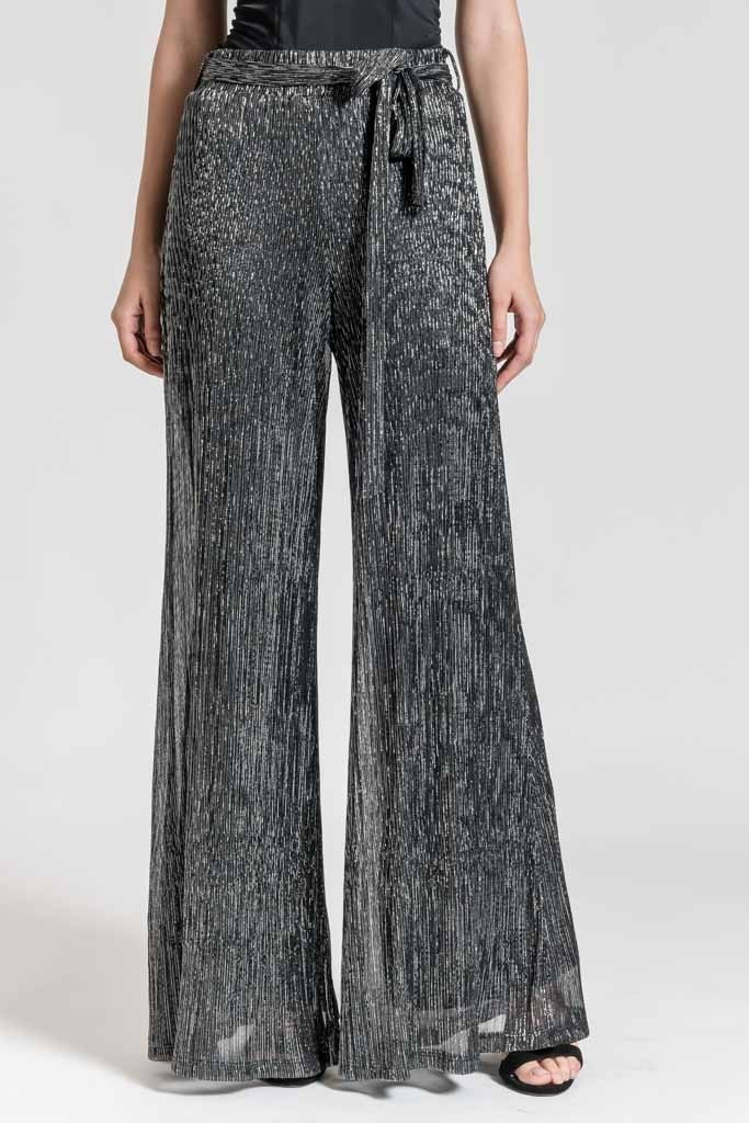 METALLIC WIDE LEG TROUSERS WITH BELT