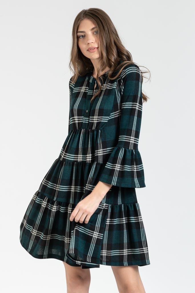 MINI CARREAUX LOOSE DRESS WITH BELL SLEEVES